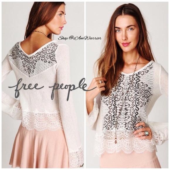 49% off Free People Sweaters - Free People fair isle lace trim ...